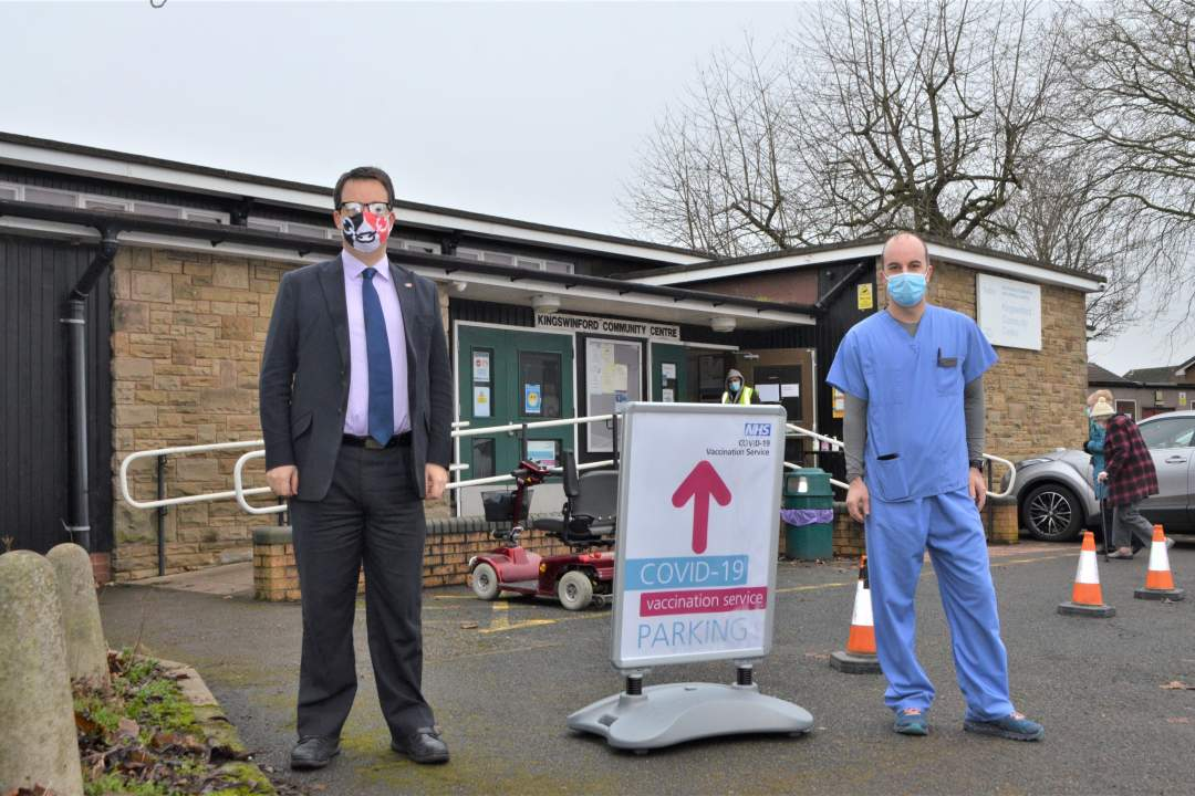 Mike with Dr Simon Hughes, local GP and Clinical Director for the vaccination service in Kingswinford, at the vaccination site at Kingswinford Community Centre